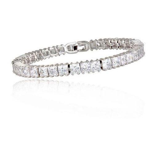 Br599/805 delikatne kwadraciki bransoletka ślubna z cyrkoniami marki Mak-biżuteria