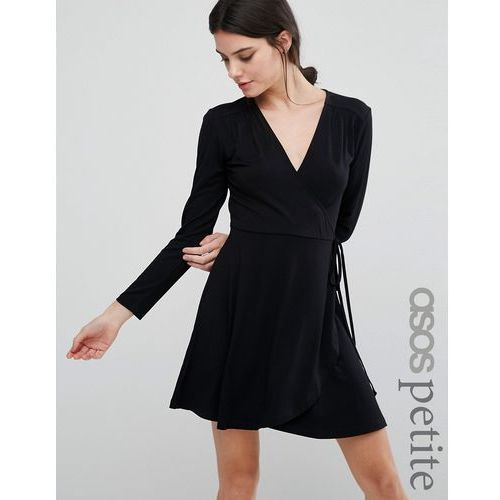 ASOS PETITE Mini Wrap Tea Dress With Long Sleeve - Black