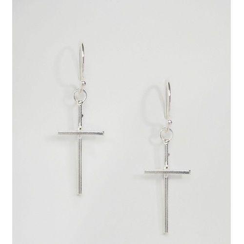 Kingsley Ryan Sterling Silver Cross Drop Earrings - Silver, kolor szary