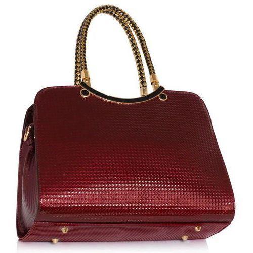 OKAZJA - Ekskluzywna lakierowana torebka damska bordowa - bordowy marki Wielka brytania