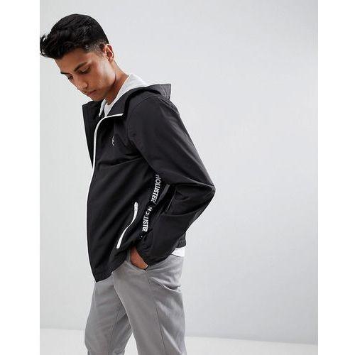hooded windbreaker jacket seagull logo in black - black marki Hollister