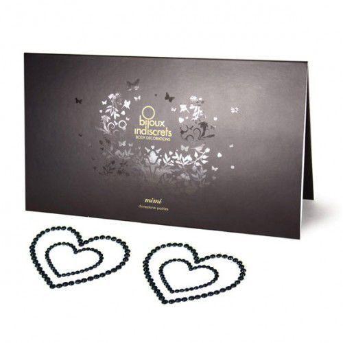 Nakładki na sutki - Bijoux Indiscrets Mimi Heart Black Serce Czarne - produkt z kategorii- Nakładki na sutki