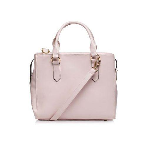 Pudrowa klasyczna pojemna torebka na rączkach marki Moe
