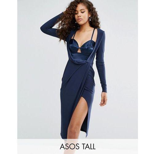 ASOS TALL Satin Bra Insert Long Sleeve Crepe Wrap Midi Dress - Navy, ASOS Tall