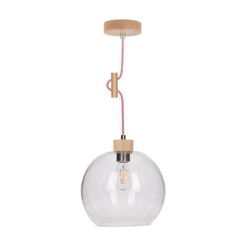 Lampa wisząca zwis oprawa Spot Light Svea 1x60W E27 buk/czerwono-biała 1356531, kolor Drewno