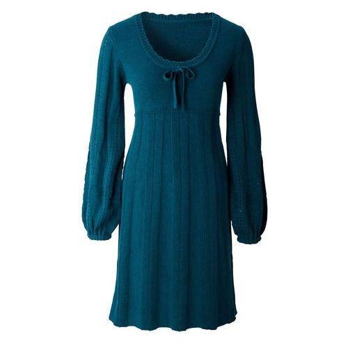 Bonprix Sukienka dzianinowa niebieskozielony morski