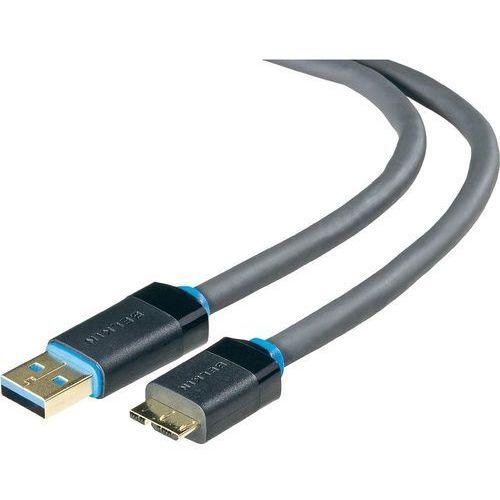 Kabel usb 3.0  f3u165cp1.8m, [1x złącze męskie usb 3.0 a - 1x złącze męskie micro-usb 3.0 b], 1.8 m, czarny marki Belkin