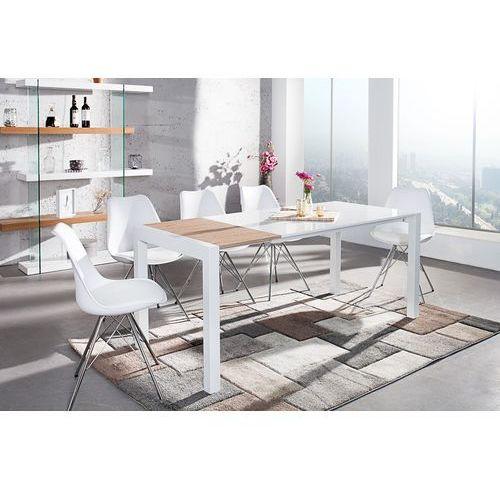 Stół rozkładany Blanc 140-170-215 cm - biały, dąb