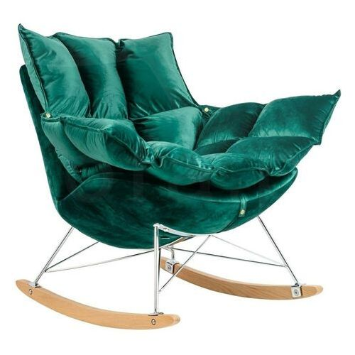 Sofa.pl Fotel bujany swing velvet ciemny zielony - welur, stal chromowana, drewno bukowe
