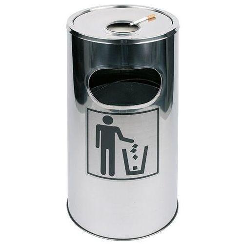 Kosz na śmieci ze stali nierdzewnej z nakładaną popielniczką o średnicy 300mm marki Aps