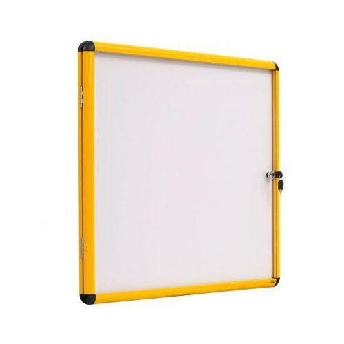 Gablota z białą magnetyczną powierzchnią, żółta ramka, 500x674 mm (4xA4)