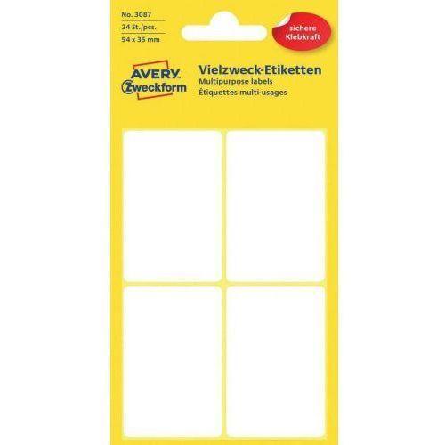 Avery zweckform mini etykiety w arkuszach do opisywania ręcznego, 54 x 35mm, białe, 24 sztuki