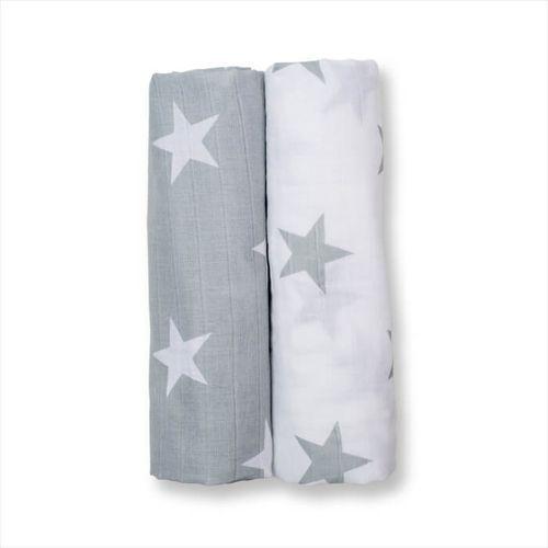 Lulujo otulacz muślinowy 2szt grey stars