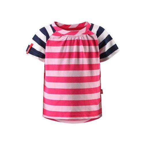 Reima T-shirt koszulka  z krótkim rękawem sampi różowo/biało/granatowe paski (6416134612783)