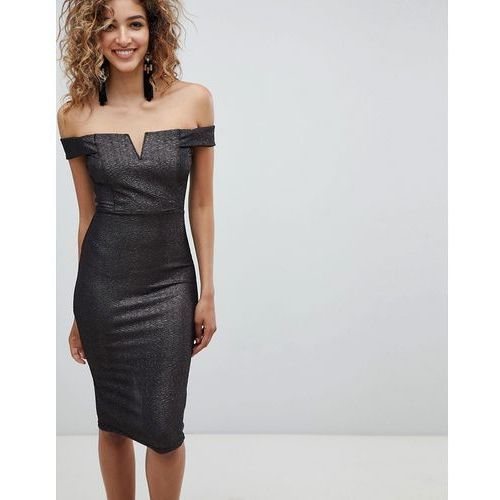 bardot midi dress - black marki Ax paris
