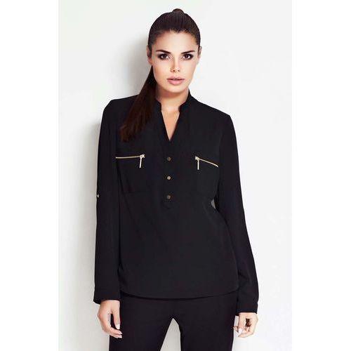 Czarna Koszulowa Bluzka ze Stójką z Podpinanym Rękawem, koszulowa