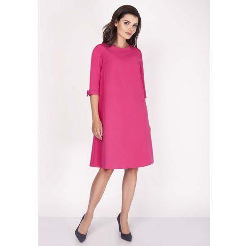 Różowa Sukienka Trapezowa Mini z Uroczymi Kokardkami, kolor różowy