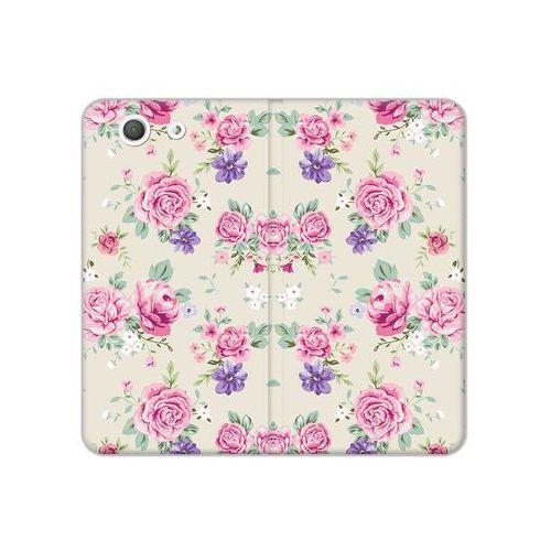 Sony Xperia Z3 Compact - etui na telefon Flex Book Fantastic - pastelowe różyczki, kolor różowy