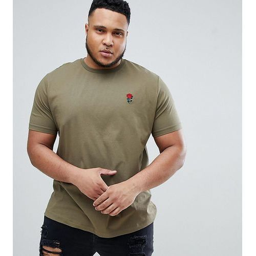 River Island Big & Tall T-Shirt With Rose Embroidery In Khaki - Green