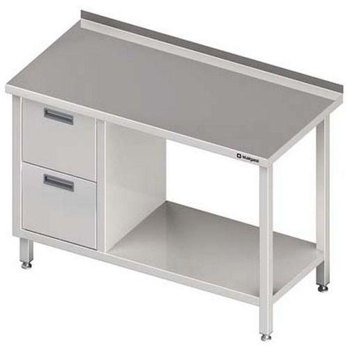 Stół przyścienny z dwiema szufladami i półką STALGAST 1000x600x850 lewy