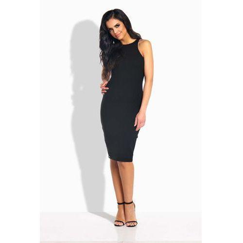 Czarna Sukienka Ołówkowa do Kolan bez Rękawów, kolor czarny