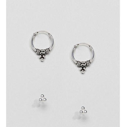Kingsley Ryan Sterling Silver Bali Hoop & Stud Earrings Set - Silver, kolor szary