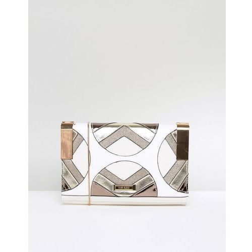 River Island Mixed Fabric Clutch Bag With Chain Strap - White