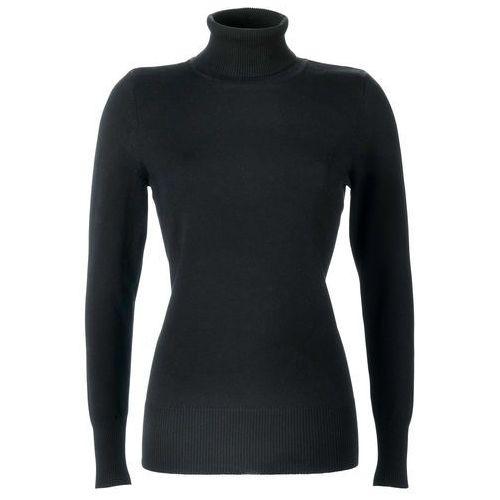 Sweter z golfem bonprix czarny, w 6 rozmiarach