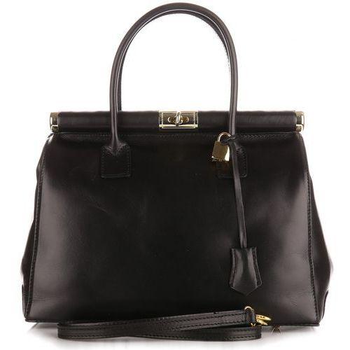 Genuine leather Włoska torebka skórzana duży kufer skóra licowa czarny (kolory)