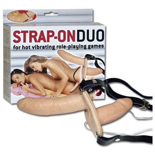 You 2 toys Wibrująca podwójna proteza dwa penisy na pasku strap-on duo 567159