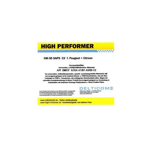 High Performer 5W-30 SAPS C2 Peugeot+Citroen 1 Litr Puszka