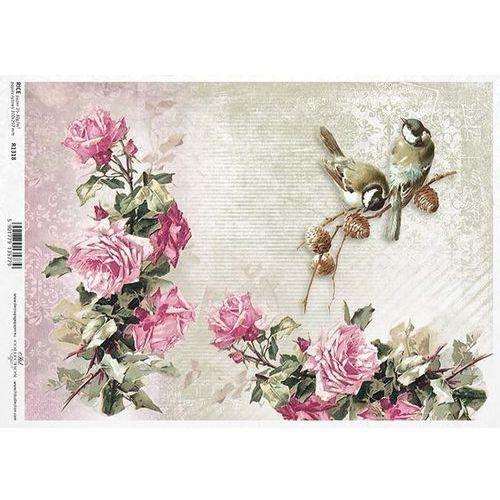 Papier ryżowy 297x210 mm - ptaki i róże marki Itdcollection