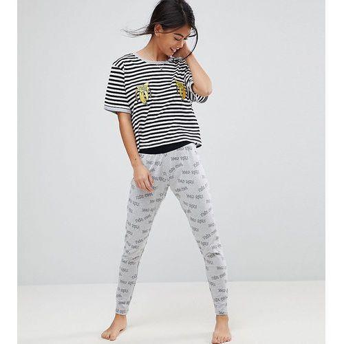 ASOS PETITE Tres Cool Embroidered Banana Legging and Tee Pyjama Set - Multi