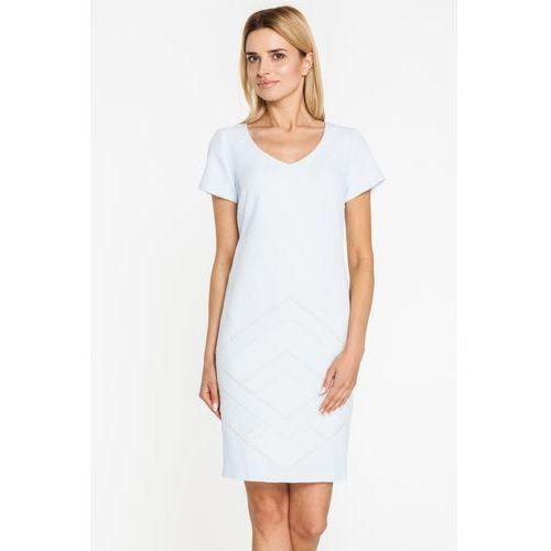 Kremowa sukienka z ciekawym ornamentem - Margo Collection, 1 rozmiar
