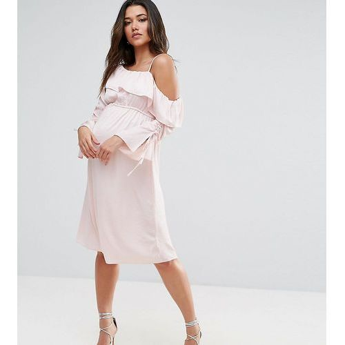ASOS Maternity One Shoulder and Ruched Sleeve Detail Midi Dress - Pink, kolor różowy