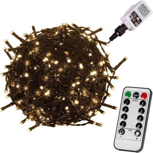 LAMPKI CHOINKOWE 600 DIOD LED OZDOBA ŚWIĄTECZNA + PILOT - Zielony / Ciepła biel / 600 LED