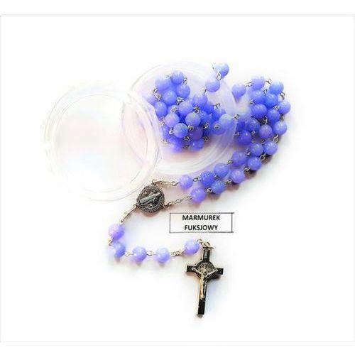 Różaniec z kamieni marmurek fuksjowy ze Św. Benedyktem