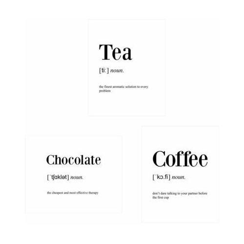 Zestaw 3 plakatów Chocolate Coffee 40 x 50 cm