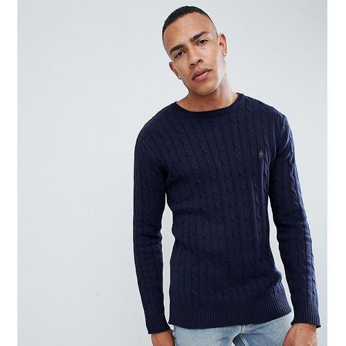 French Connection TALL 100% Cotton Logo Cable Knit Jumper - Navy