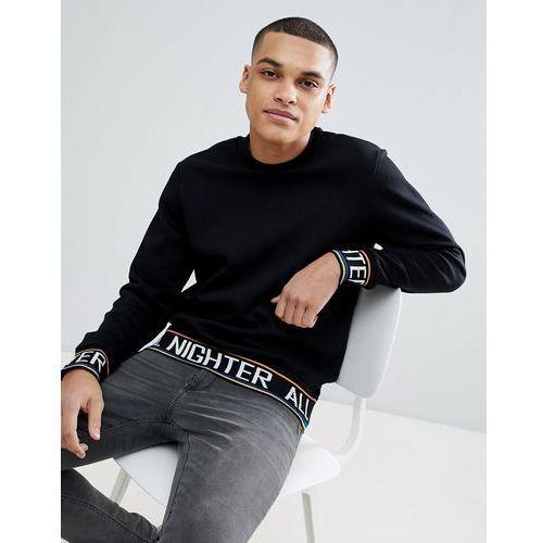 Bershka Sweatshirt With Slogan Tape In Black - Black, kolor czarny