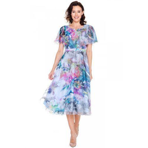Zwiewna sukienka w kwiatowe wzory - Potis & Verso, kolor niebieski