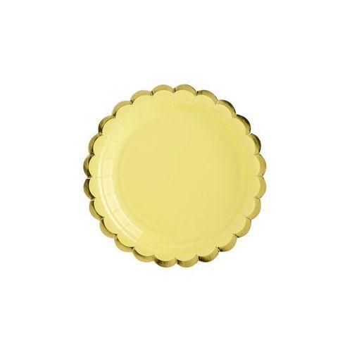 Talerzyki żółte ze złotymi brzegami - 18 cm - 6 szt.