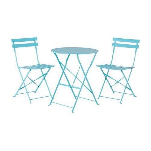 Meble ogrodowe niebieskie - balkonowe - stół z 2 krzesłami - FIORI (7081456394991)