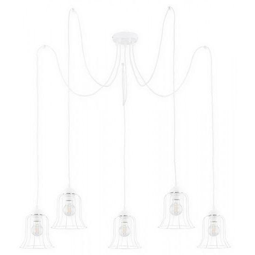 Lemir Dzwonek O2725 W5 BIA lampa wisząca zwis pająk 5x60W E27 biały mat, O2725 W5 BIA
