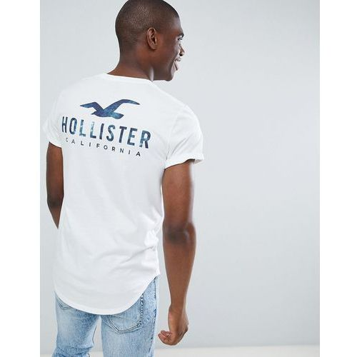 Hollister Front and Back Logo Print T-Shirt Curved Hem in White - White