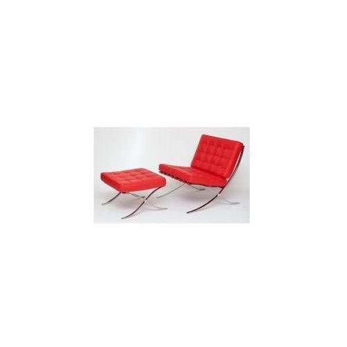 Fotel z podnóżkiem BA1 skóra czerwona, 82968