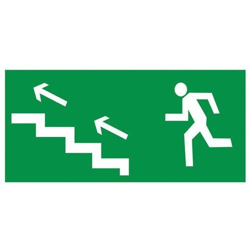 Znak Kierunek ewakuacji schodami w lewo w górę - produkt z kategorii- Znaki informacyjne i ostrzegawcze
