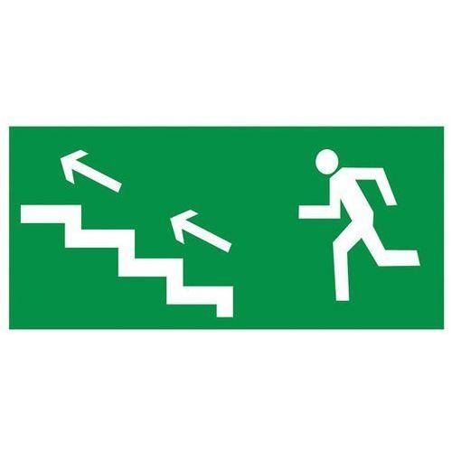 Znak Kierunek ewakuacji schodami w lewo w górę, 5107_D