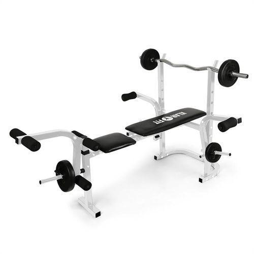 Klarfit workout hero ławeczka do ćwiczeń ze sztangą stojak curler doćwiczeń bicepsów belka doćwiczeń mięśni nóg