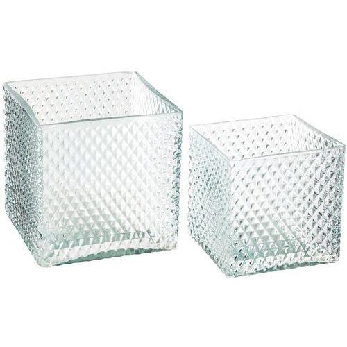 Stylowe doniczki szklane, zestaw 2 doniczek kwadratowych do salonu, kolor zielony